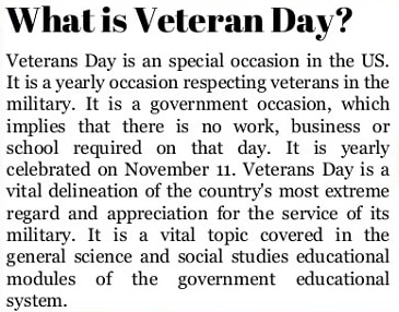 What is Veterans Day 2020