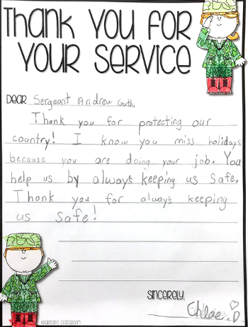 sample thank you letters to veterans