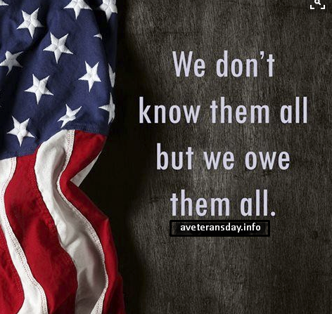 Inspirational Veterans Day thank you message, quotes