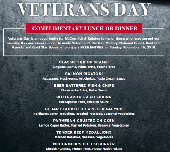 mccormick and schmick's veterans day menu