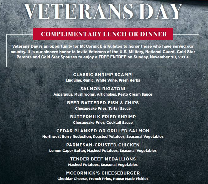 VETERANS DAY APPRECIATION MENU