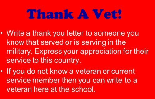 Thank You letters To Veterans 2020