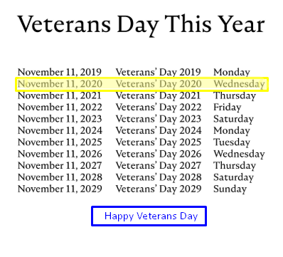 When is veterans Day 2020